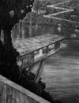 Wieland Payer, Am Wasser, 2007, charcoal on paper, 110 x 80 cm