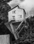 Wieland Payer, Stelzenhaus, 2007, charcoal on paper, 110 x 80 cm