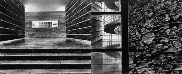 Wieland Payer, Entrate II, 2008, charcoal on paper on board, 33 x 80 cm