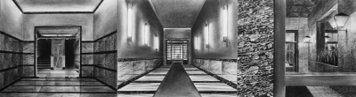 Entrate I, 2008, charcoal on paper on board, 33 x120 cm