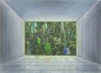 Wieland Payer, Eingang, 2009, pastel and charcoal on paper on board, 100 x 140 cm