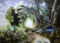 Wieland Payer, Tunnel nach Govaerts, Hirschjagd im Walde, 2011, pastel, charcoal and pencil on paper, 130 x 180 cm