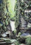 Wieland Payer, Waldschlucht, 2012, pastel and charcoal on paper on Balsa MDF, 205 x 140 cm