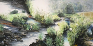 Wieland Payer, Graben, 2012, pastel and charcoal on paper on MDF, 100 x 200 cm