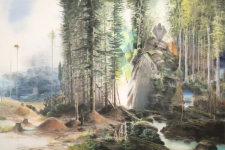Wieland Payer, Schlossholz, 2012, pastel and charcoal on paper on MDF, 100 x 150 cm
