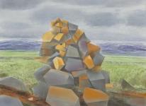 Wieland Payer, Steinmann, 2017, pastel and charcoal on MDF, 40 x 55 cm, Foto: Herbert Boswank: Herbert Boswank