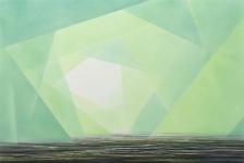 Wieland Payer, Myrdalssandur, 2018, Pastell auf grundiertem MDF, 80 x 120 cm, Foto: Herbert Boswank