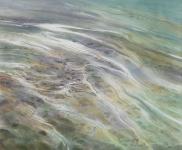 Payer, Wieland:  ELBE; 2019, Pastell, Aquarell und Kohle auf grundiertem MDF, 50 x 60 cm         Foto: Herbert Boswank