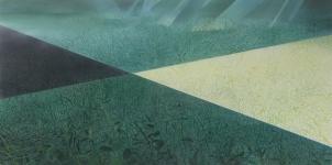 Payer, Wieland:  SCHATTEN; 2019, Pastell, Kohle und Aquarell auf grundiertem MDF,   80 x 160 cm      Foto: Herbert Boswank