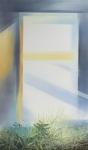 Payer, Wieland:  WINDOW; 2019, Pastell,  Aquarell und Kohle auf grundiertem MDF,   130 x 76 cm       Foto: Herbert Boswank