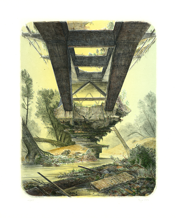 Wieland Payer, Temple VIII, 2014, Lithografie auf Bütten, 6 Farben, 55 x 43 cm