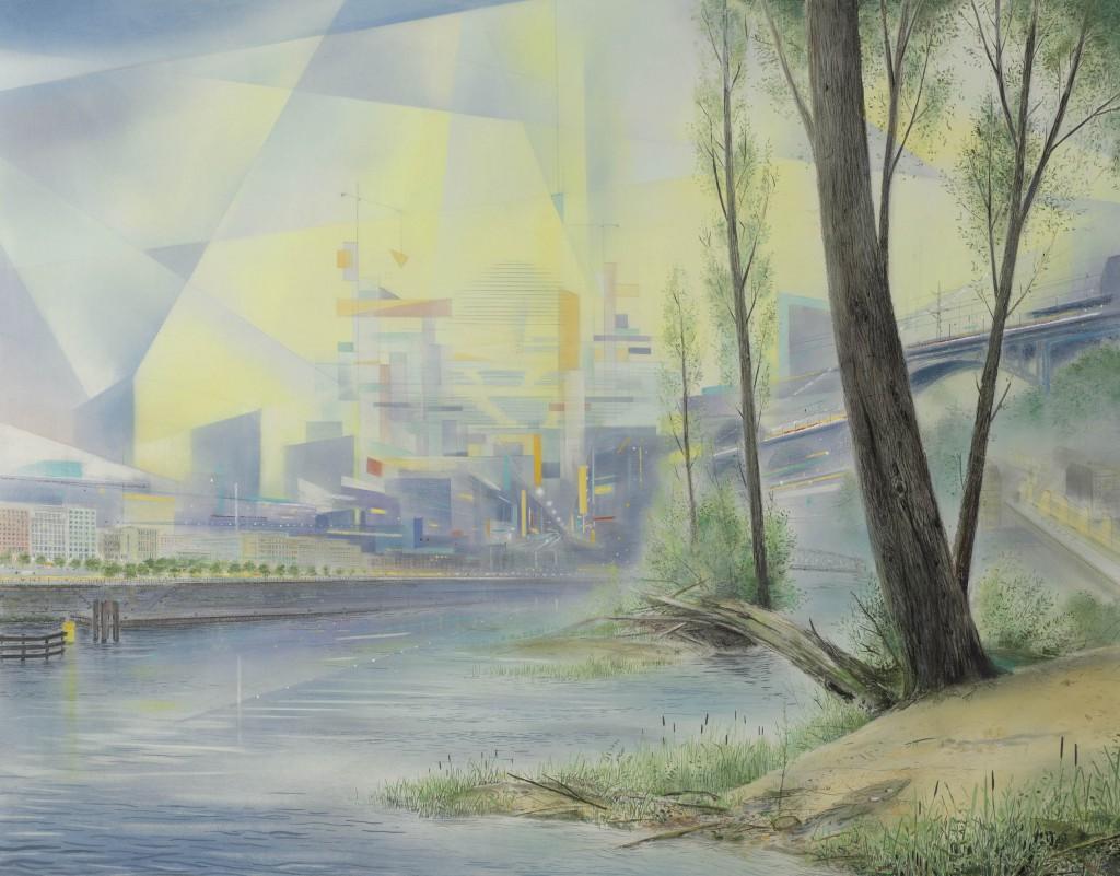 Wieland Payer: Berlin, 2014, Pastel auf MDF, 78 x 100 cm, Foto: Herbert Boswank