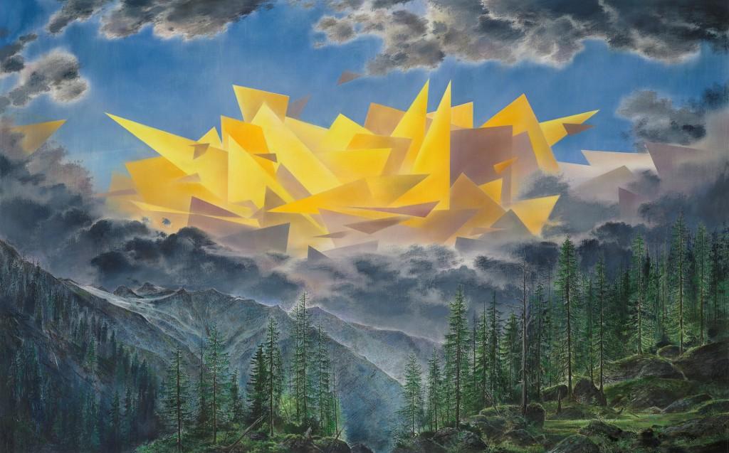 Wieland Payer: Cloud, 2015, Pastell und Kohle auf MDF, 100 x 160 cm, Foto: Herbert Boswank